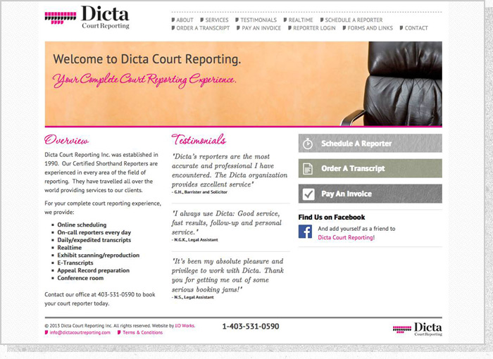 Dicta Court Reporting - Screen 1